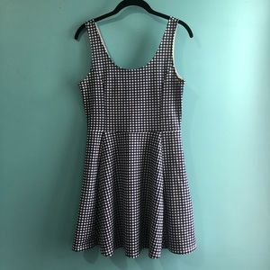 H&M Navy & White Gingham Print Dress